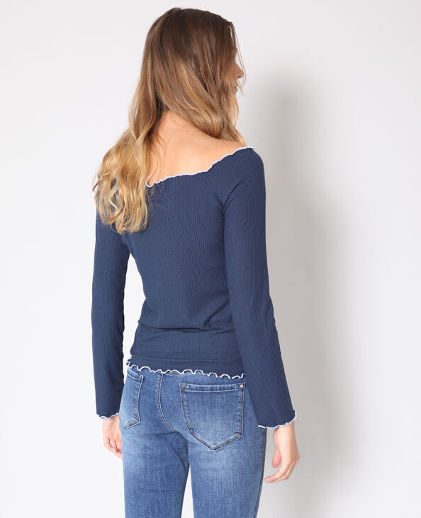 Shirt met blote schouders marineblauw