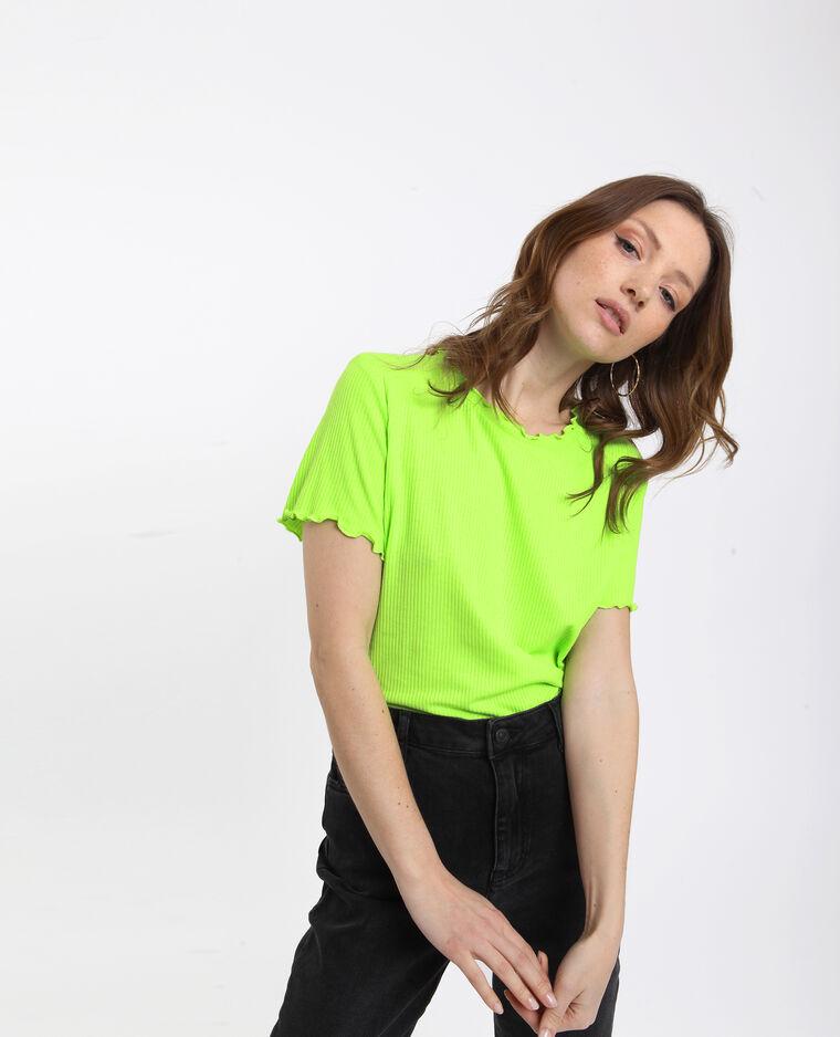 T-shirt côtelé vert d'eau