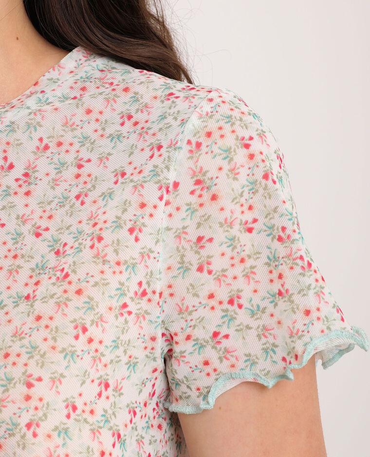 T-shirt à fleurs rose