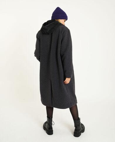 Oversized jas met lusjesprint grijs