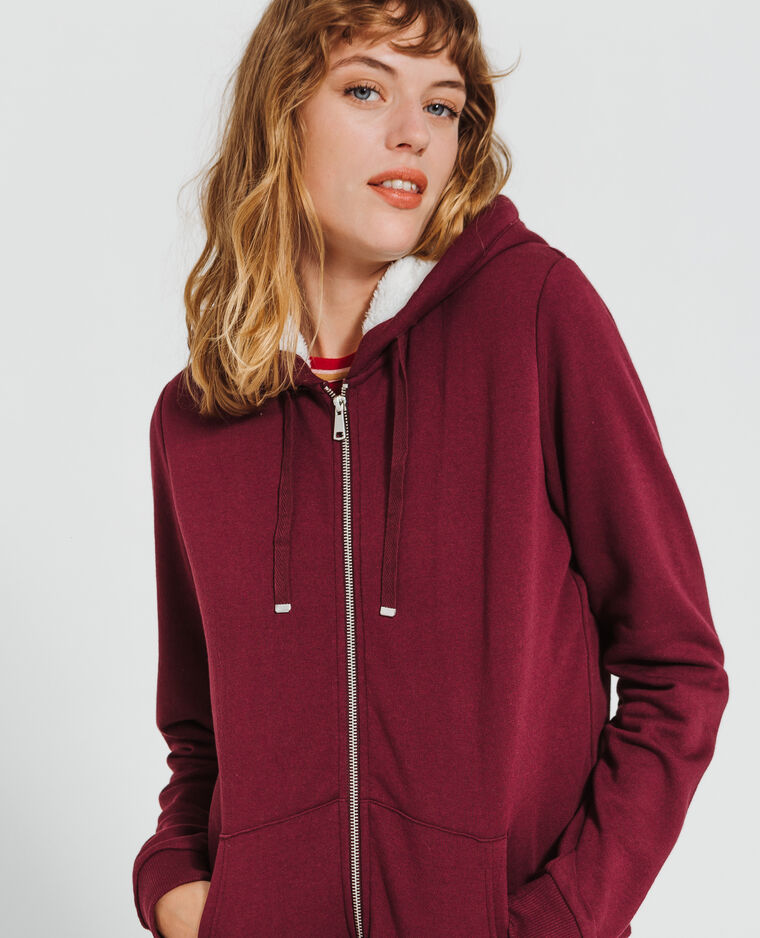 Sweat zippé bordeaux