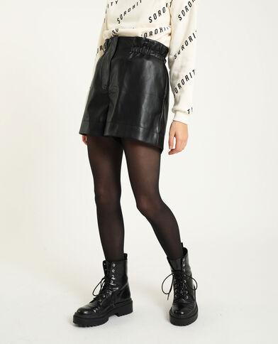 Short met hoge taille in kunstleer zwart