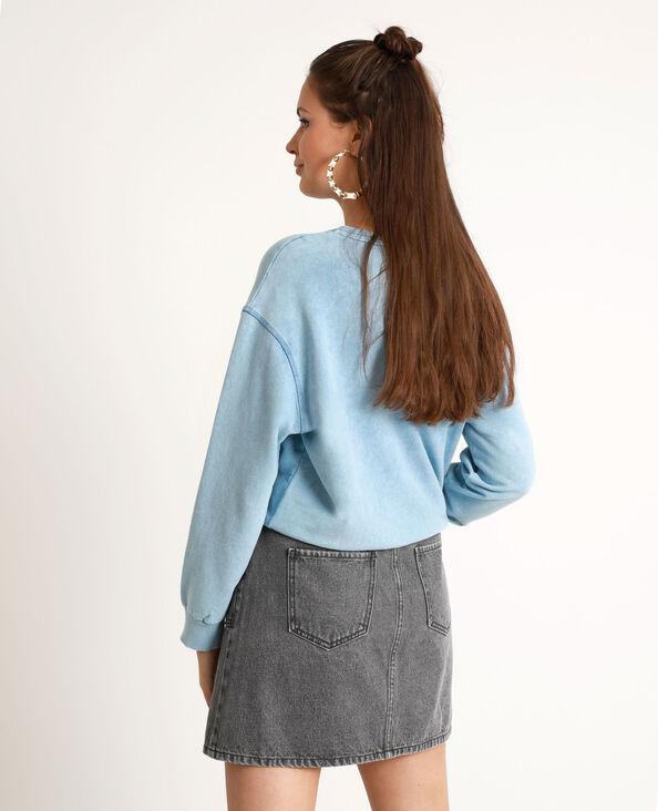 Sweater met used effect verwassen blauw