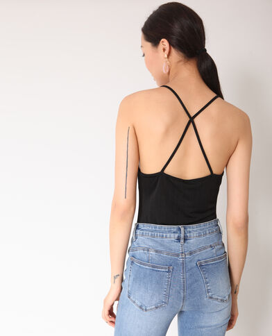 Body met dunne schouderbandjes zwart