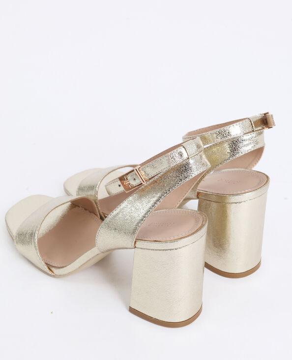 Sandalen met brede hakken geel