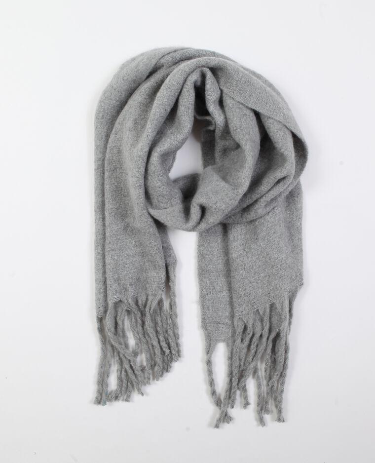 Sjaal met franjes parelgrijs