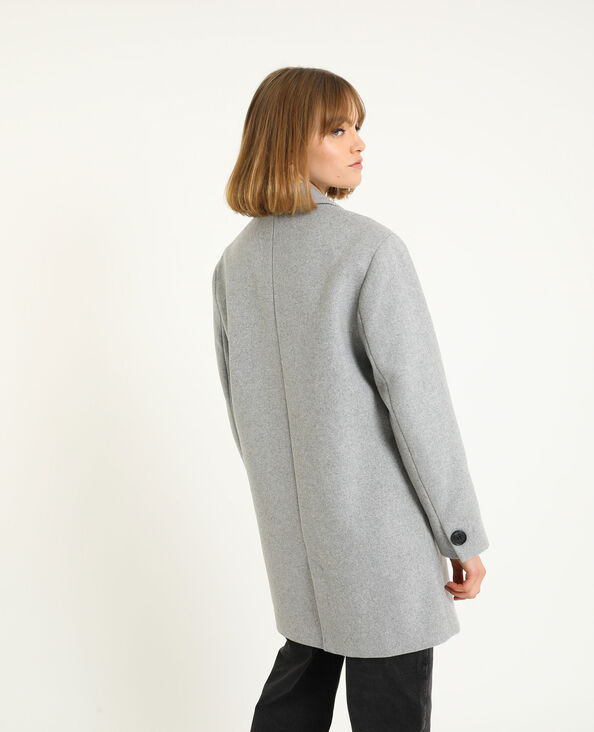 Jas met wol gemêleerd grijs - Pimkie