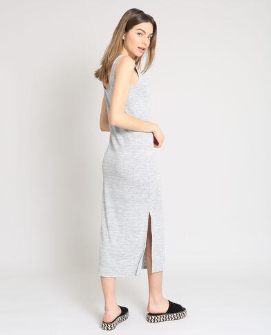Lange, strakke jurk gemêleerd grijs
