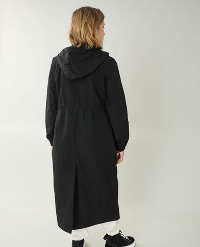 Manteau long coupe-vent noir - Pimkie