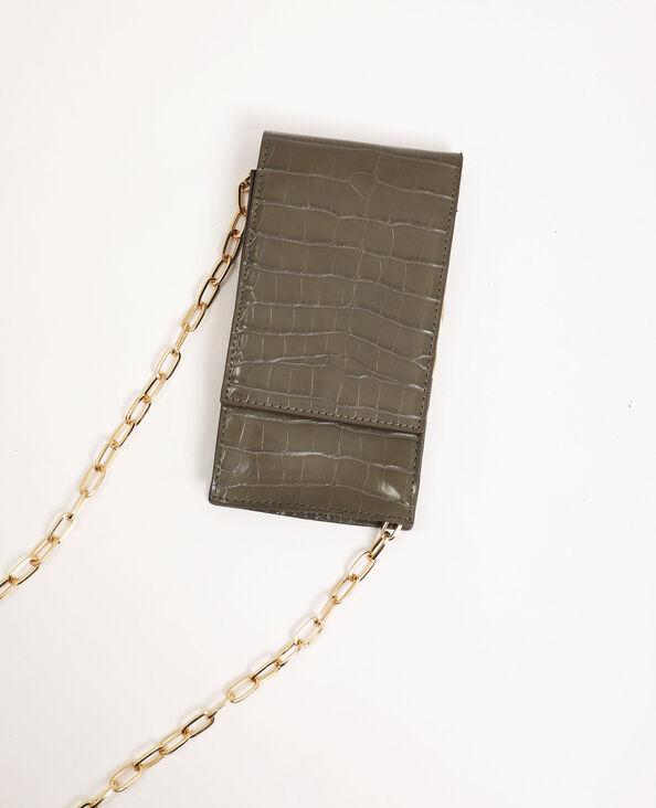 Smartphonetasje met schouderband kaki