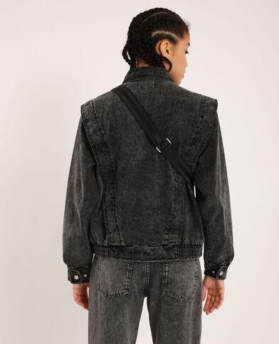 Jeansjasje met verwassen effect verwassen grijs