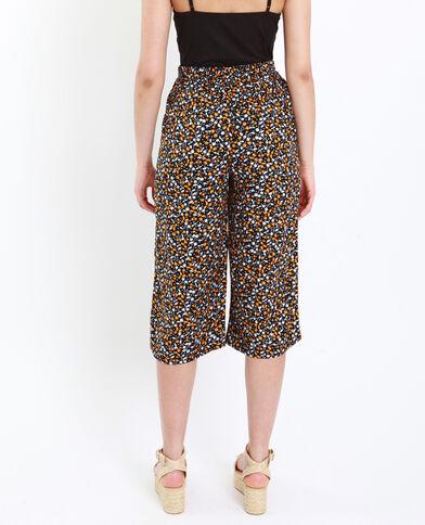 Jupe culotte à fleurs noir