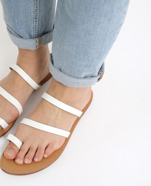 Platte sandalen van kunstleer wit