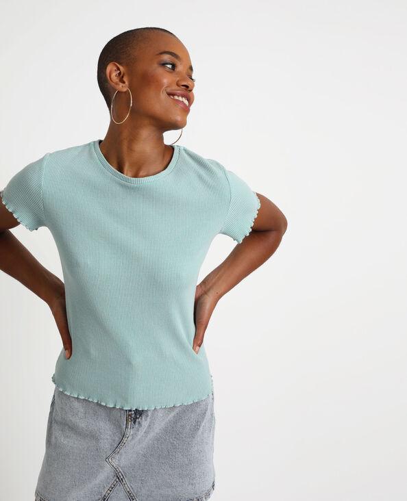 T-shirt texturé vert d'eau