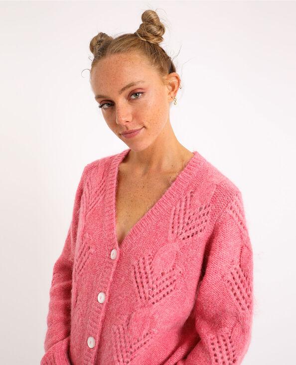 Vest met kabelpatroon roze