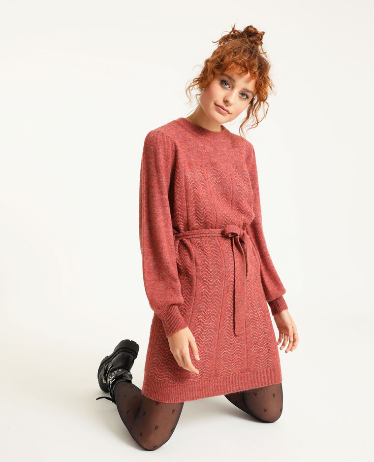Robe pull avec ceinture corail