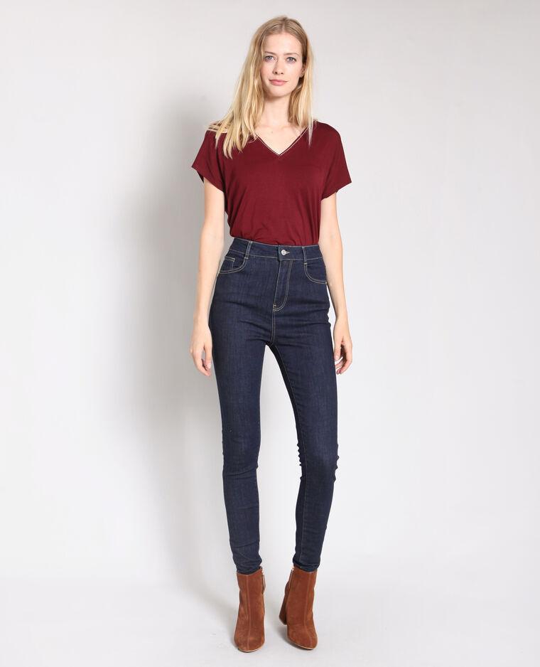 Jean skinny taille haute bleu foncé