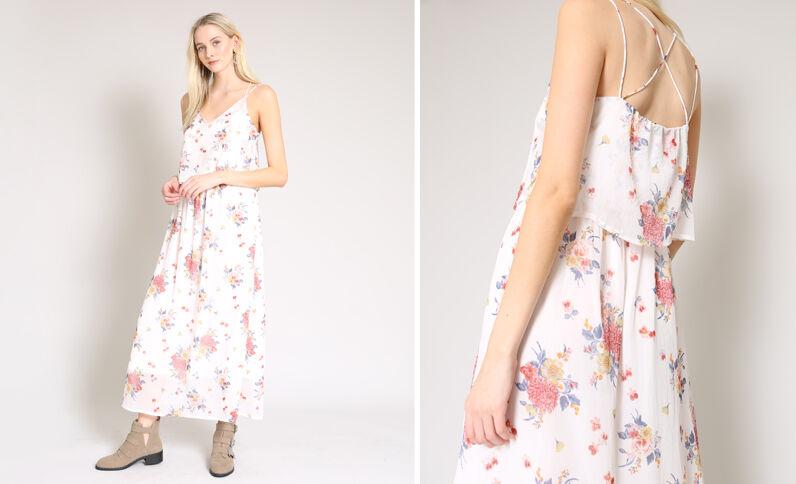 Fleurige lange jurk wit