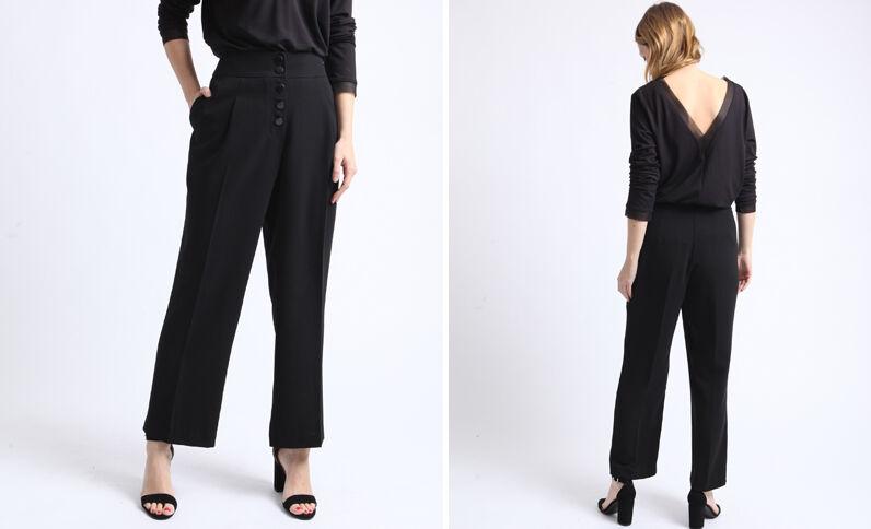 Pantalon wide leg noir