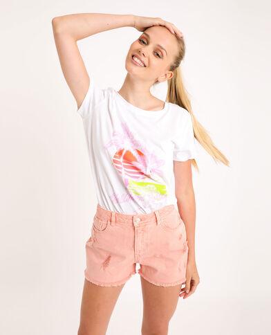 T-shirt met grafische print ecru