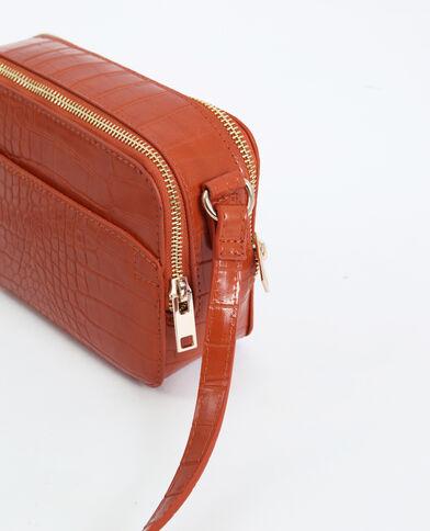 Rechthoekige handtas met krokodillenhuideffect oranje