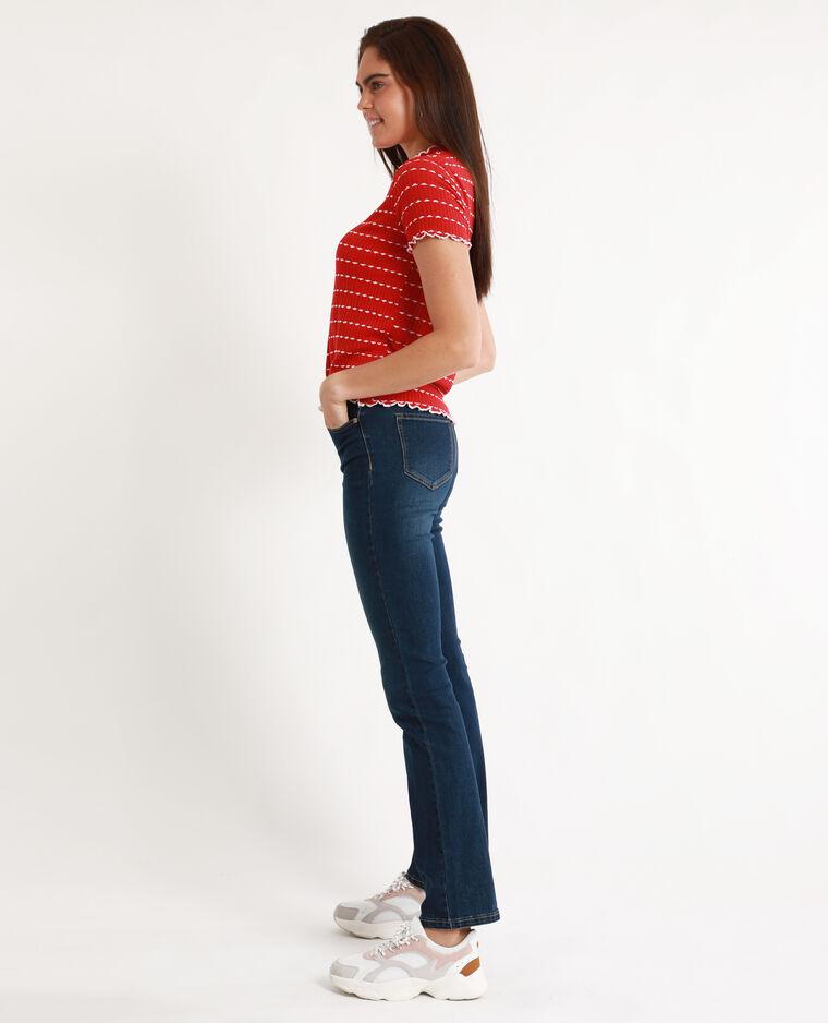 Tee-shirt maille côtelée rouge
