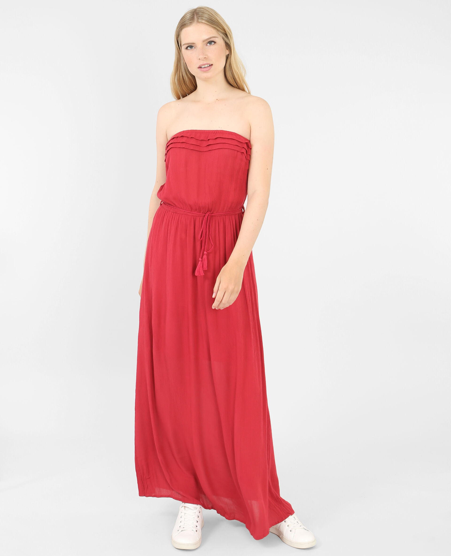 lange strapless jurk
