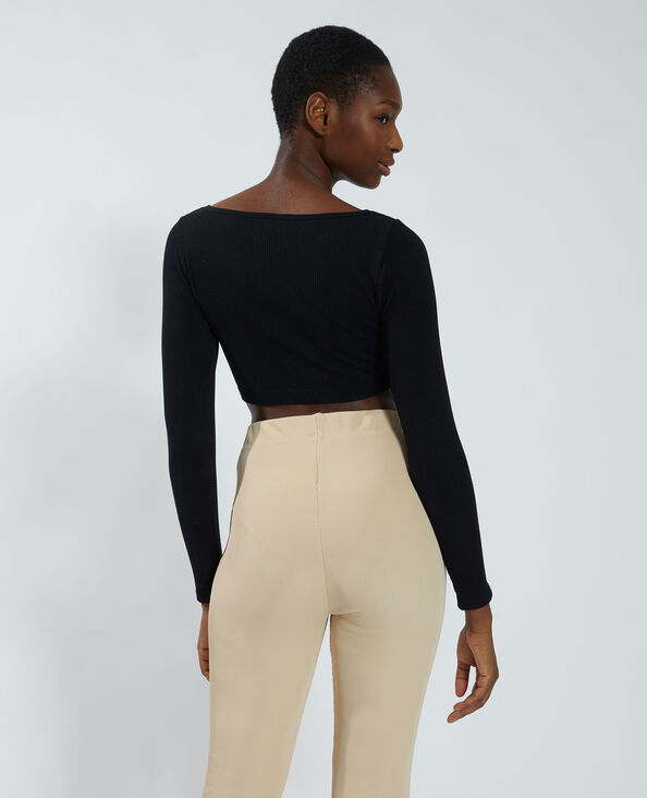 Cropped T-shirt met ribbels zwart - Pimkie