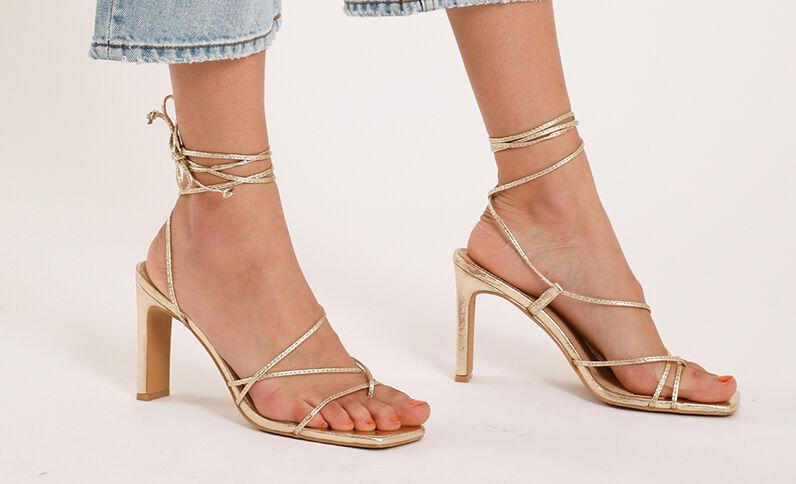 Sandalen met hakken goudkleurig