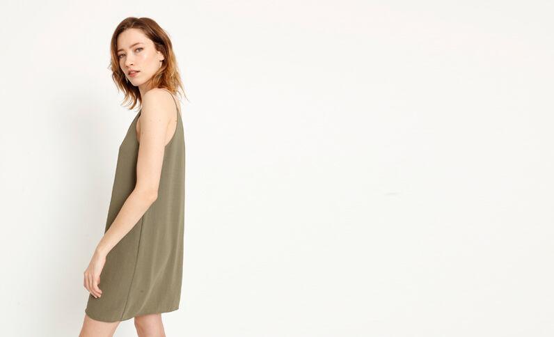 Jurk met dunne schouderbandjes groen