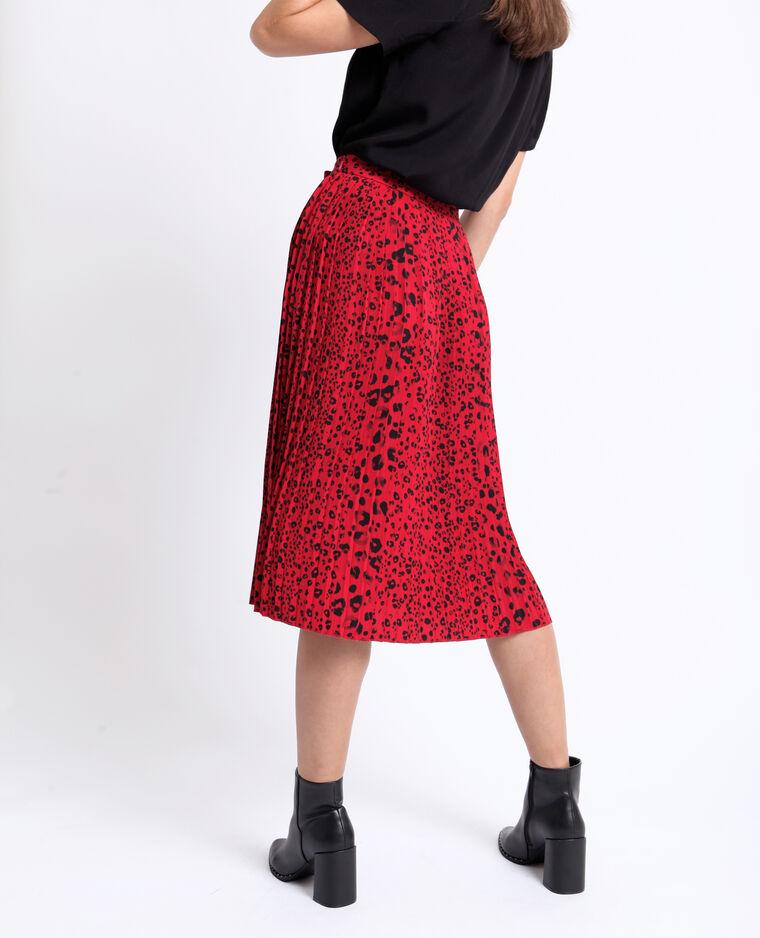 Jupe plissée léopard rouge