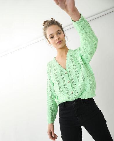 Vest van opengewerkt tricot groen - Pimkie