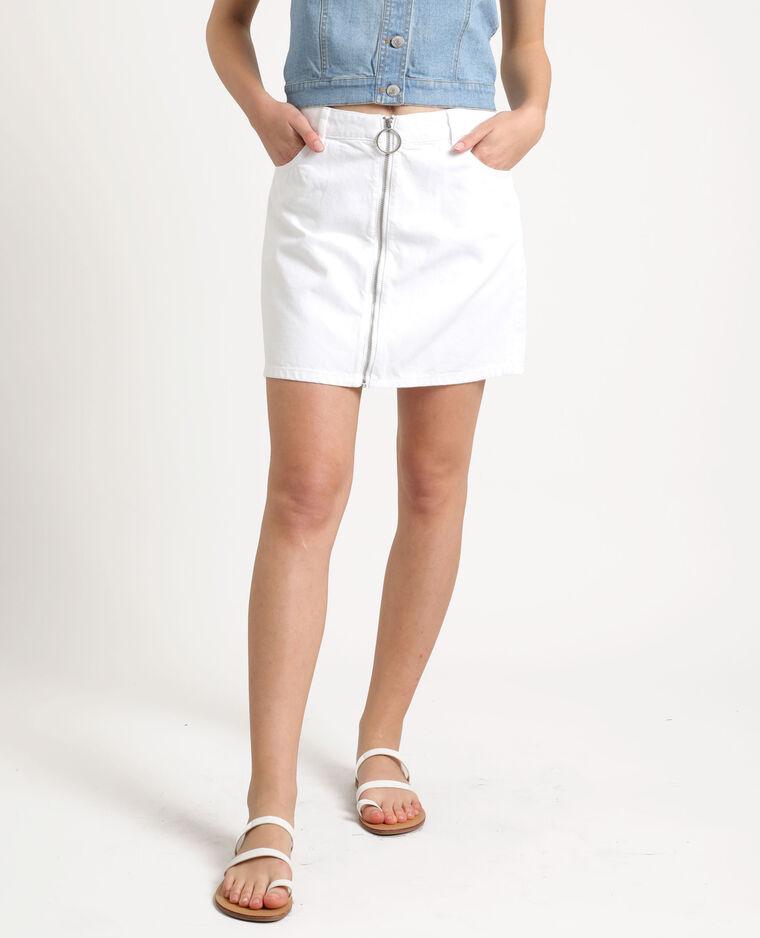 Jupe en jean zippée blanc