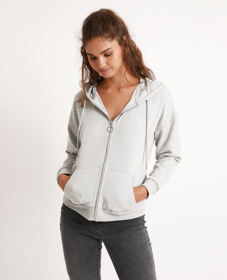 Sweat à capuche zippé gris chiné