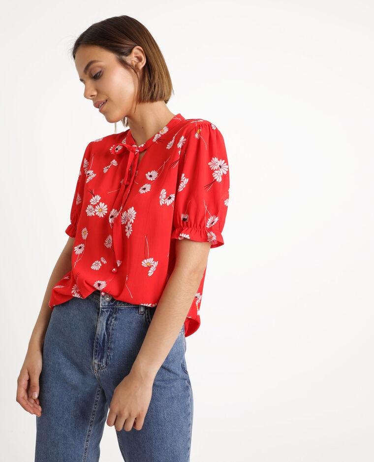 Blouse met bloemenprint rood