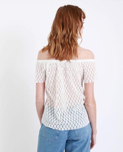 T-shirt met borduursels gebroken wit