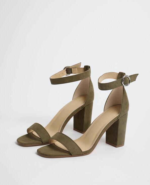 Sandalen met hakken van microvezel kaki