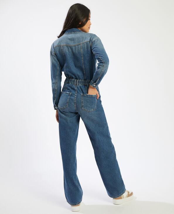 Jeansjumpsuit met brede pijpen denimblauw - Pimkie