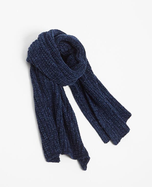 Sjaal van chenilletricot blauw