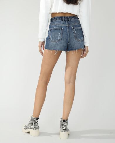 Jeansshort met destroyed effect denimblauw - Pimkie