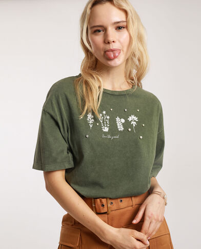 T-shirt met parels kaki