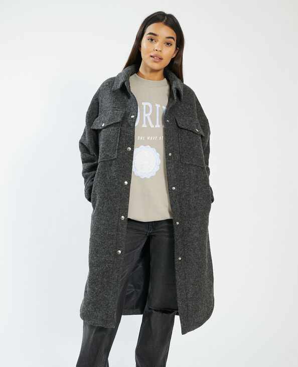 Lange oversized overshirt grijs - Pimkie
