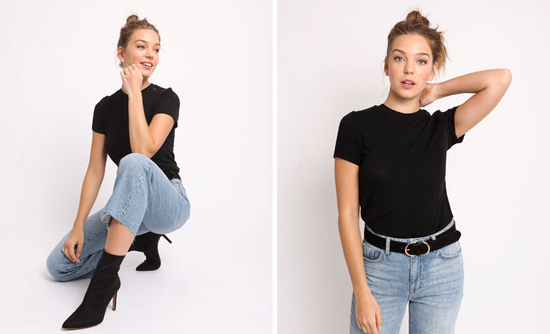 T-shirt à boutons noir