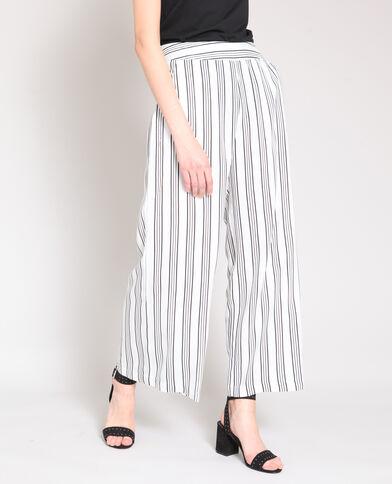 Pantalon large rayé beige