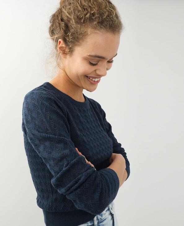 Dunne opengewerkte trui marineblauw - Pimkie