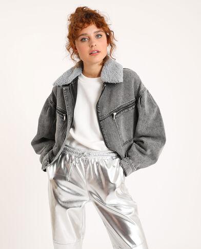 Jeansjack met kraag van imitatievacht grijs