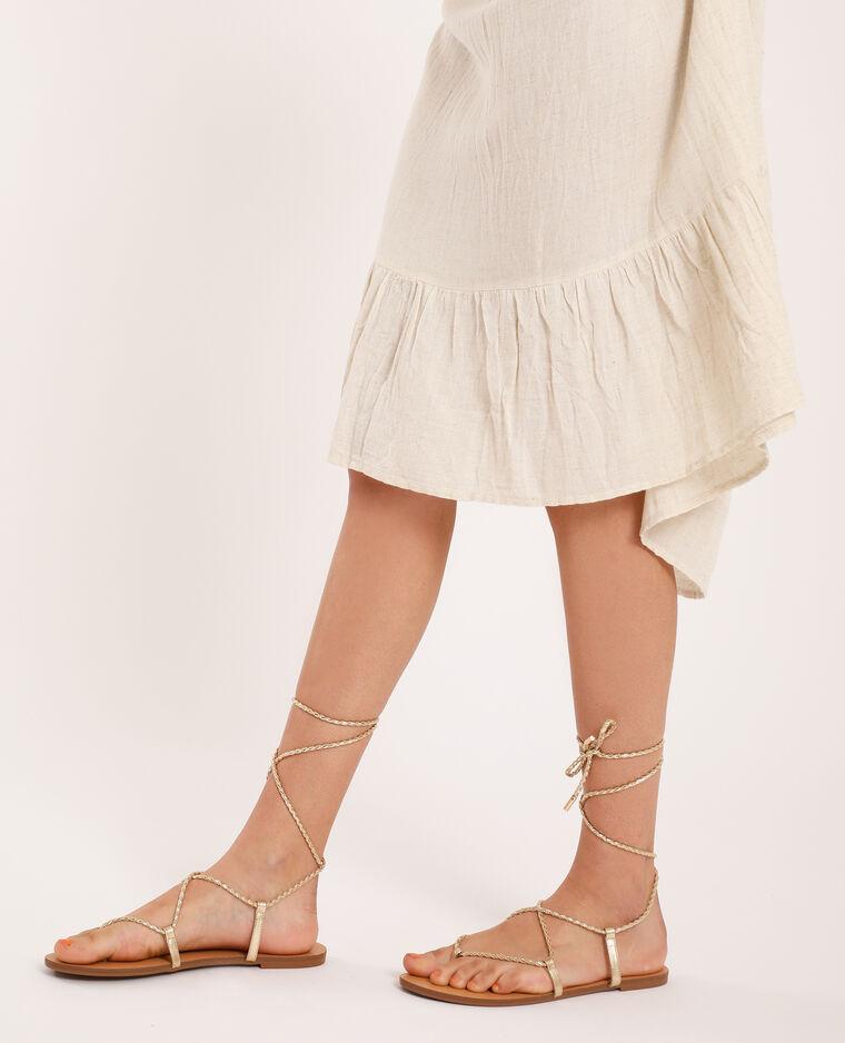 Sandales plates tressées doré