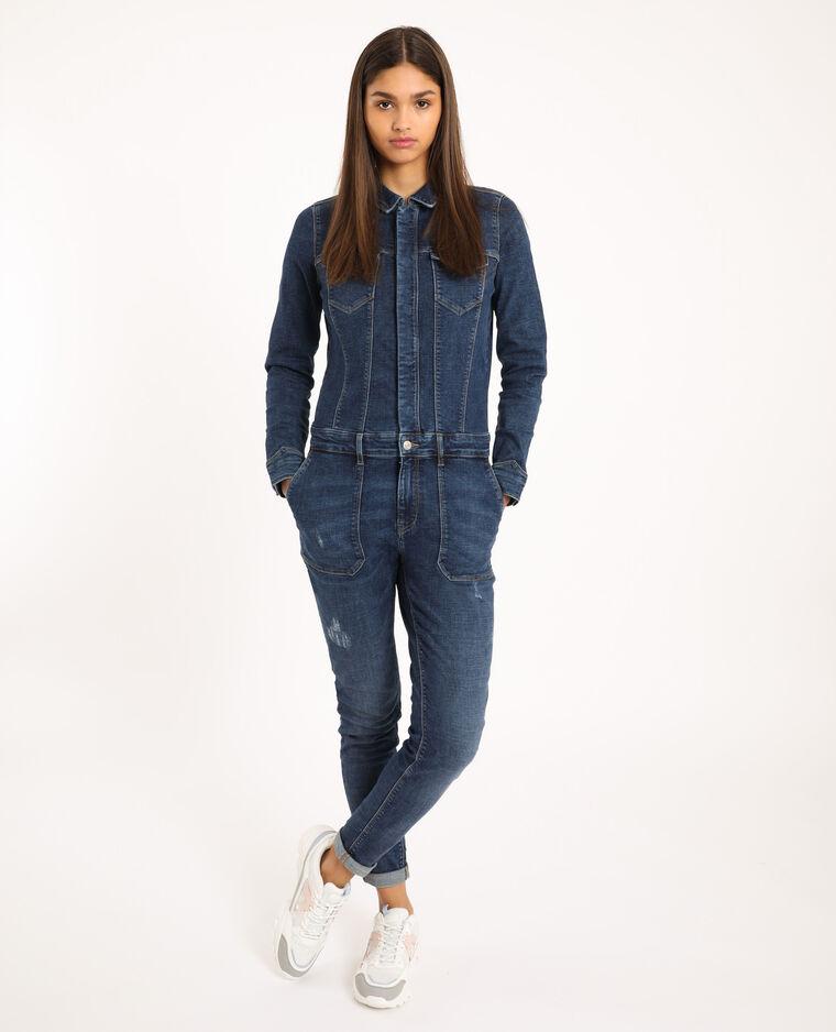 Combi-pantalon en jean bleu brut