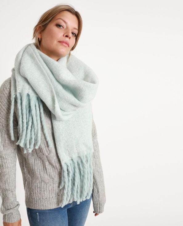 Dikke sjaal met grote franjes blauw
