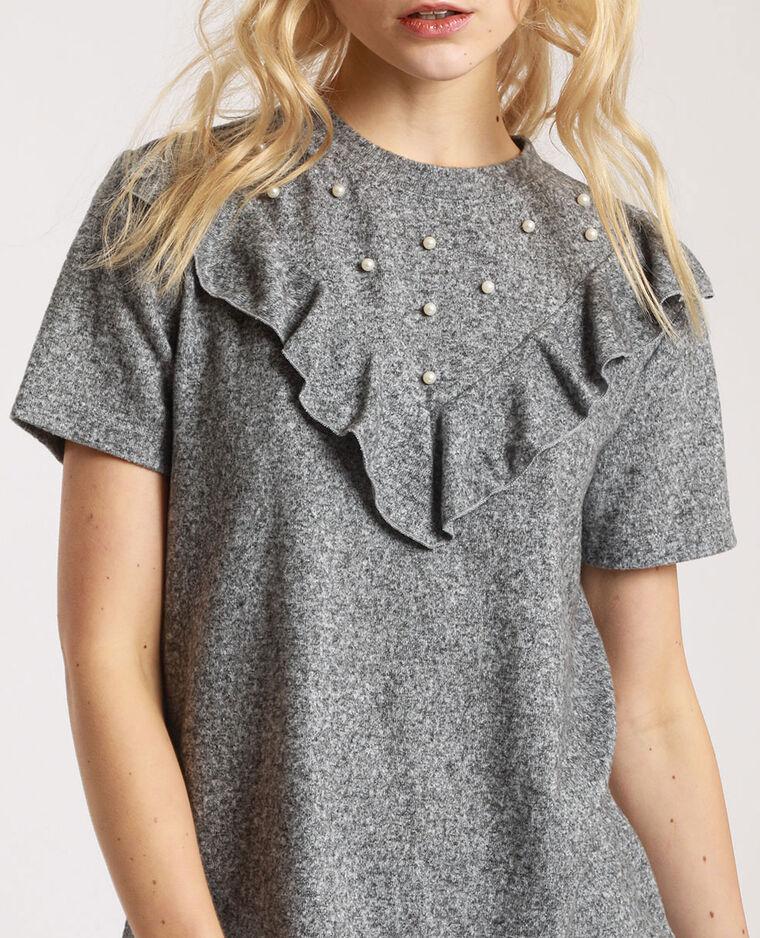 T-shirt à perles gris perle - Pimkie